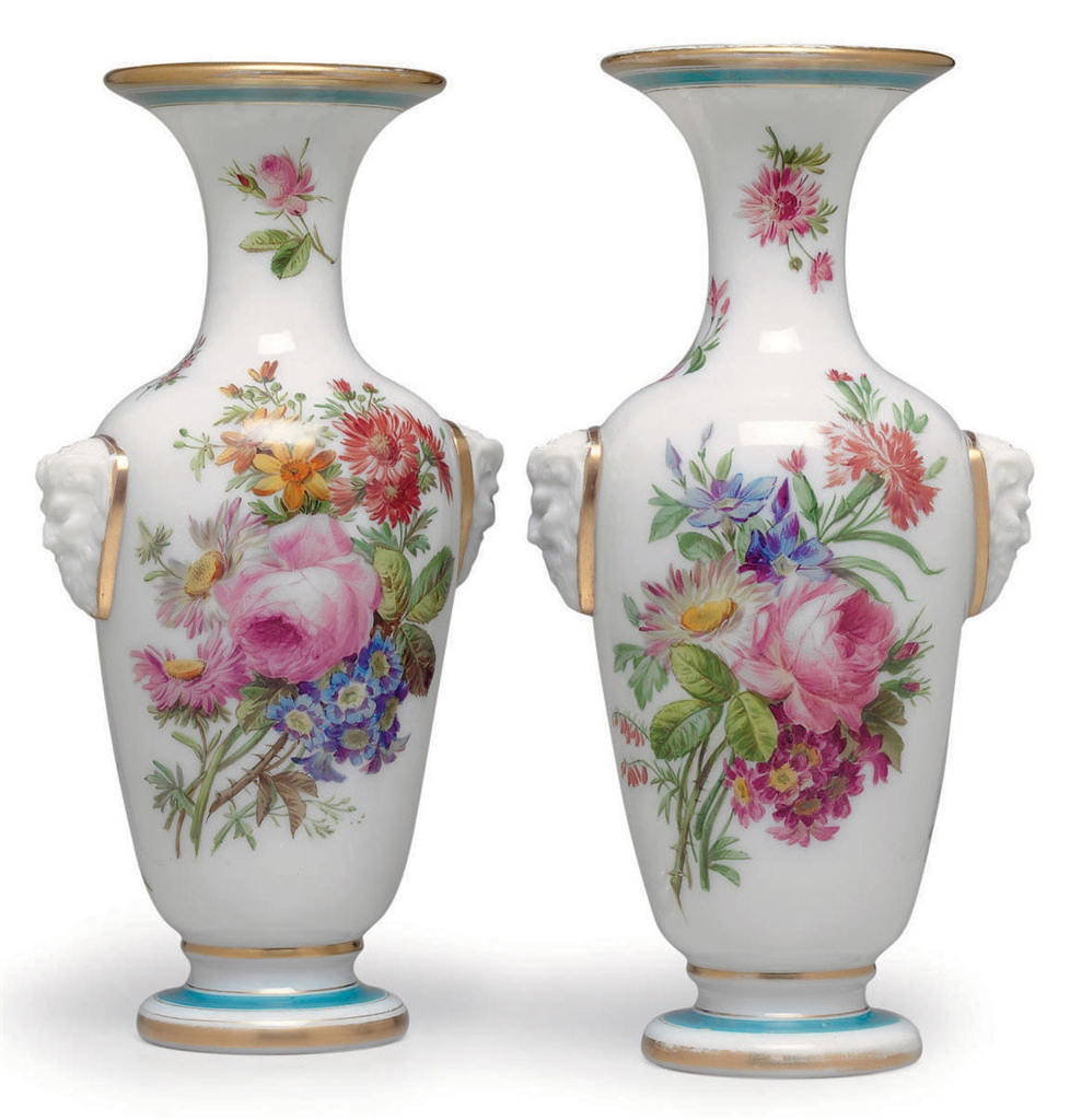 A PAIR OF BACCARAT WHITE OPALINE GLASS VASES | CIRCA 1845 ... Opaline Ruffled Glass Pink Vase
