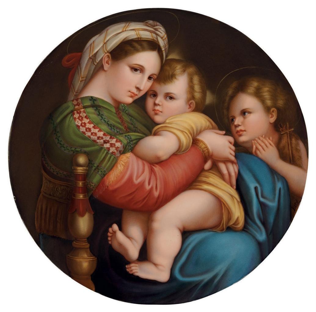 A berlin k p m porcelain circular plaque madonna della for Christian kies