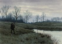 The gamekeeper at dusk on a cold winter's day
