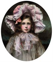 Portrait of Dorothy Carr Buckland, the artist's daughter, bust-length, in pink and white hat, oval