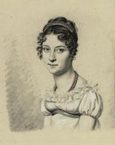 Portrait of young girl, bust-length, wearing a coral necklace