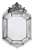 A VENETIAN GLASS OCTAGONAL MARGINAL MIRROR