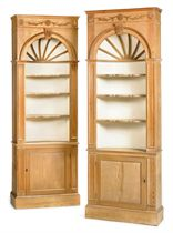 A PAIR OF PINE DISPLAY CABINETS