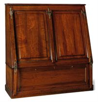 A LATE VICTORIAN MAHOGANY AND BRASS MOUNTED FOLIO CABINET