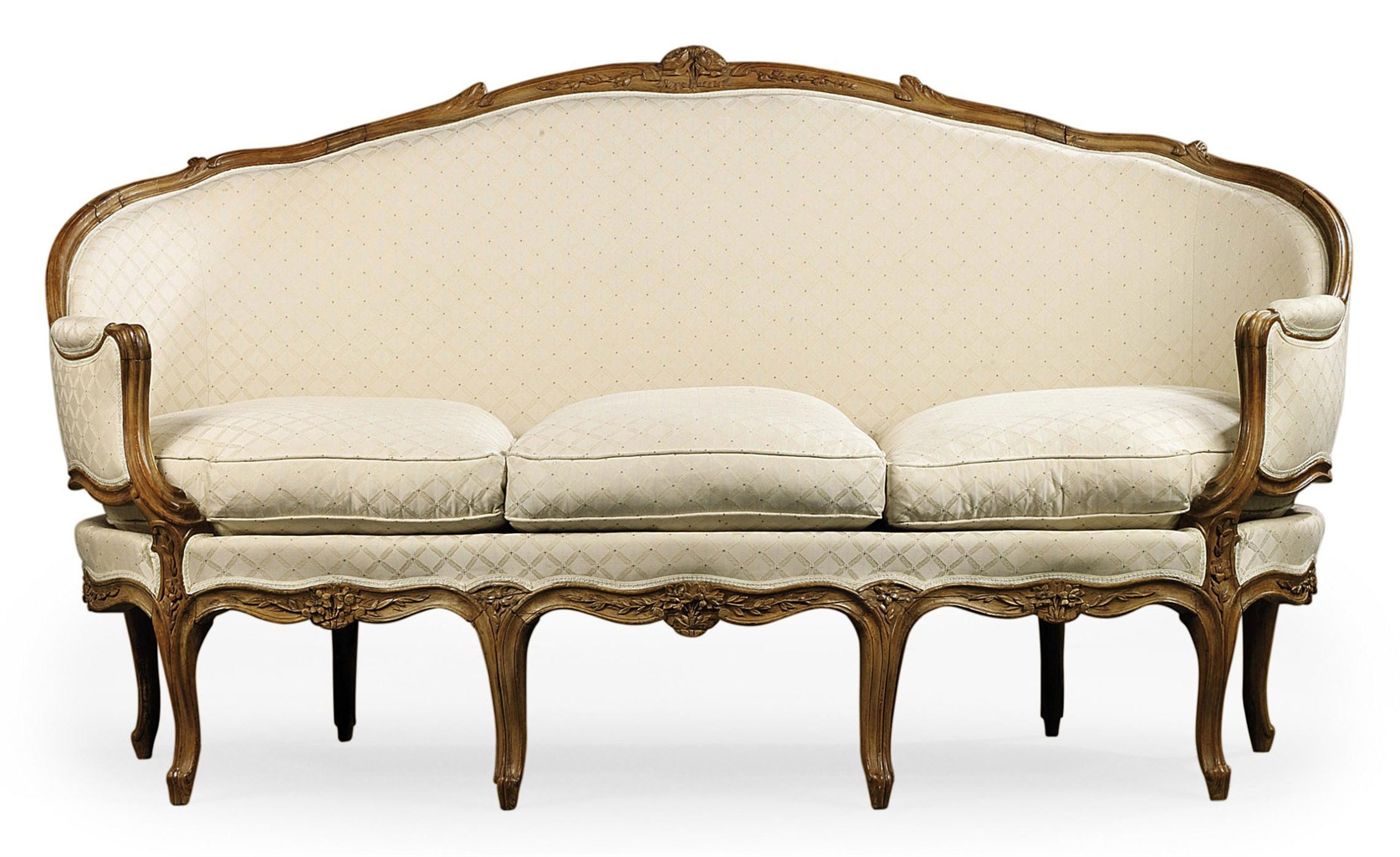 a louis xv walnut canape en corbeille by jean gourdin. Black Bedroom Furniture Sets. Home Design Ideas
