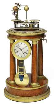 A CHARLES X ORMOLU-MOUNTED AMBOYNA STRIKING ORRERY CLOCK