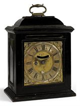 A WILLIAM AND MARY EBONISED EIGHT DAY TIMEPIECE TABLE CLOCK WITH PULL QUARTER REPEAT