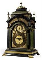 A GEORGE I LARGE EBONISED, PAINTED AND BRASS-MOUNTED QUARTER-CHIMING EIGHT DAY TABLE CLOCK