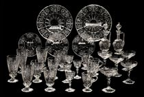 A LOBMEYER 'ROCK CRYSTAL' ENGRAVED GLASS PART TABLE-SERVICE