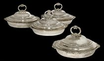 A SET OF FOUR GEORGE III SILVER VEGETABLE DISHES AND COVERS