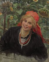 Peasant girl in red kerchief