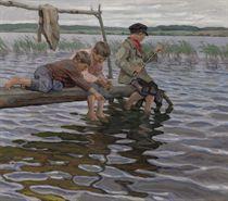 Boys fishing off a pier