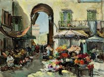 A flower market in Nice