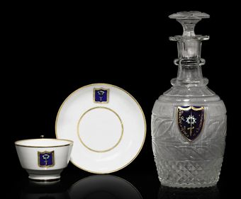 A Cut-Glass Decanter and Porcelain Cup and Saucer from His Majesty's Own Service in the Cottage Palace