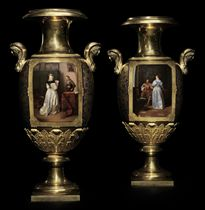 A Pair of Impressive Two-Handled Porcelain Vases