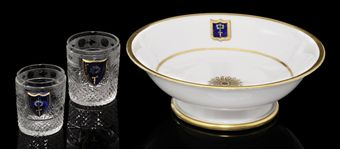 Two Cut-Glass Beakers and a Porcelain Bowl from His Majesty's Own Service in the Cottage Palace