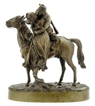 A Bronze Group of a Soldier on Horseback Kissing His Sweetheat