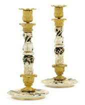 A Pair of Ormolu-Mounted Porcelain Candlesticks