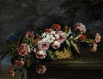 Cesto di fiori su sfondo di paesaggio