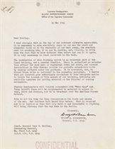 """EISENHOWER, Dwight D. Typed letter signed (""""Dwight D. Eisenhower""""), as Supreme Commander Allied Expeditionary Force, TO LT. GENERAL OMAR N. BRADLEY, Supreme Headquarters, 14 May 1944. 1 page, 4to, two punch holes at top, """"Confidential"""" stamp at top and bottom edges, slight remnants of mounting on verso."""