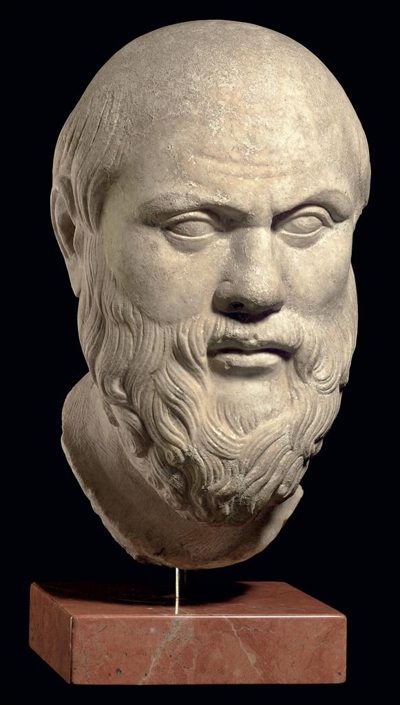 A Roman Marble Portrait Head Of Socrates Circa 1st