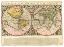 MERCATOR, Rumold (1545-1599). Orbis Terrae Compendiosa Descriptio. [Duisburg:] 1587. Engraved twin-hemispherical world map, elaborate strapwork borders, armillary sphere, compass rose, galleon and sea monster, all hand-coloured by a contemporary hand, Latin text below in four columns, the first with 20 lines, verso blank. (Trimmed just into the left- and right-hand extremities of the plate mark just touching the western hemisphere and associated strapwork, lightly browned, lower right-hand edge with very minor chips, some minor repairs to verso, very light vertical stain to both hemispheres, some very small repairs to compass rose with associated small losses), 286 x 519mm (sheet 382 x 519mm).