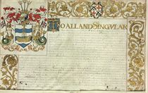 [CHARLES II -- THE ROYAL FISHING]. Letters patent issued by Sir Edward Walker, Garter King of Arms, 13 December 1664, grant of arms to the 'Governor and Company of the Royall Fishing of Great Britain and Ireland', in English, illuminated manuscript on vellum, with arms of the company, three-sided foliate border with Walker's arms, large foliate initial and opening letters in gold, on one membrane, 560 x 805mm, framed and glazed (unexamined out of frame, small hole affecting text, some slight cockling and fading of ink). Provenance: Frederick Arthur Crisp (1851-1922, antiquarian and publisher); sold Sotheby's, 5 December 1922, lot 409A (accompanying Lever Brothers Ltd correspondence recording the purchase, along with a catalogue entry dated 27 February [n.y.], lot 493A); private collection.