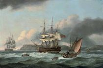 H.M.S. Bellerophon at anchor off Torbay, but making sail with the defeated Emperor Napoleon aboard, 26th July 1815