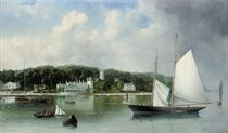 A two-masted racing schooner settling on the tide off the Royal Yacht Squadron, Cowes