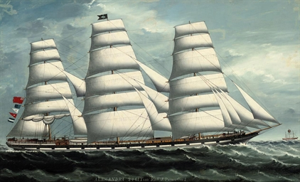 the merchantman <b>alexandra</b> outward-bound for calcutta under full sail and passing the south sand lightship off the mouth of the thames