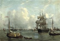 Bustling activity in a Dutch harbour
