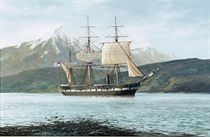 H.M.S. Challenger in Royal Sound, Kerguelen Island, in the Southern Ocean
