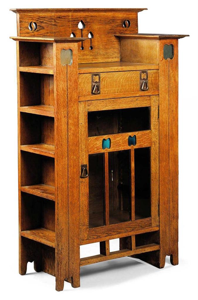 An Arts Amp Crafts Oak Display Cabinet Bookcase Circa 1900 Cabinet Furniture Amp Lighting