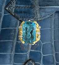 An 18ct. gold, aquamarine and diamond ring, by Andrew Grima