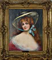 Portrait of a red headed beauty wearing a bonnet