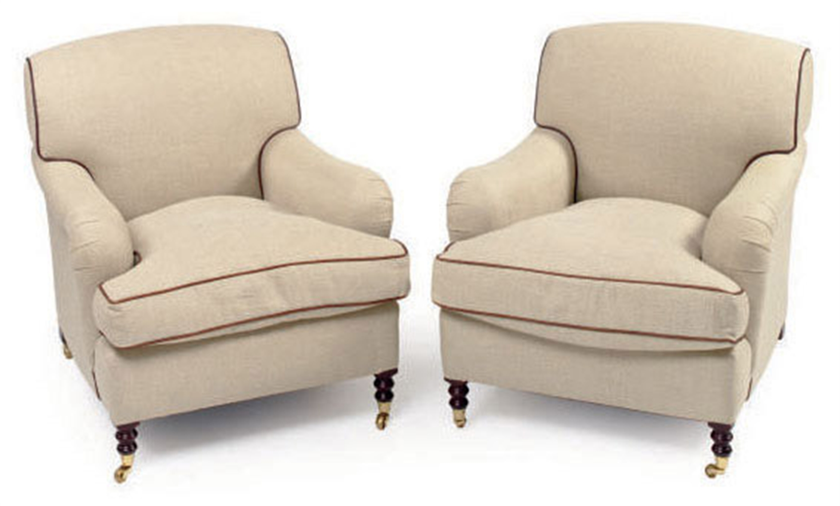 A Pair Of Leather Trimmed Cream Twill Upholstered Club Chairs By George Smith Late