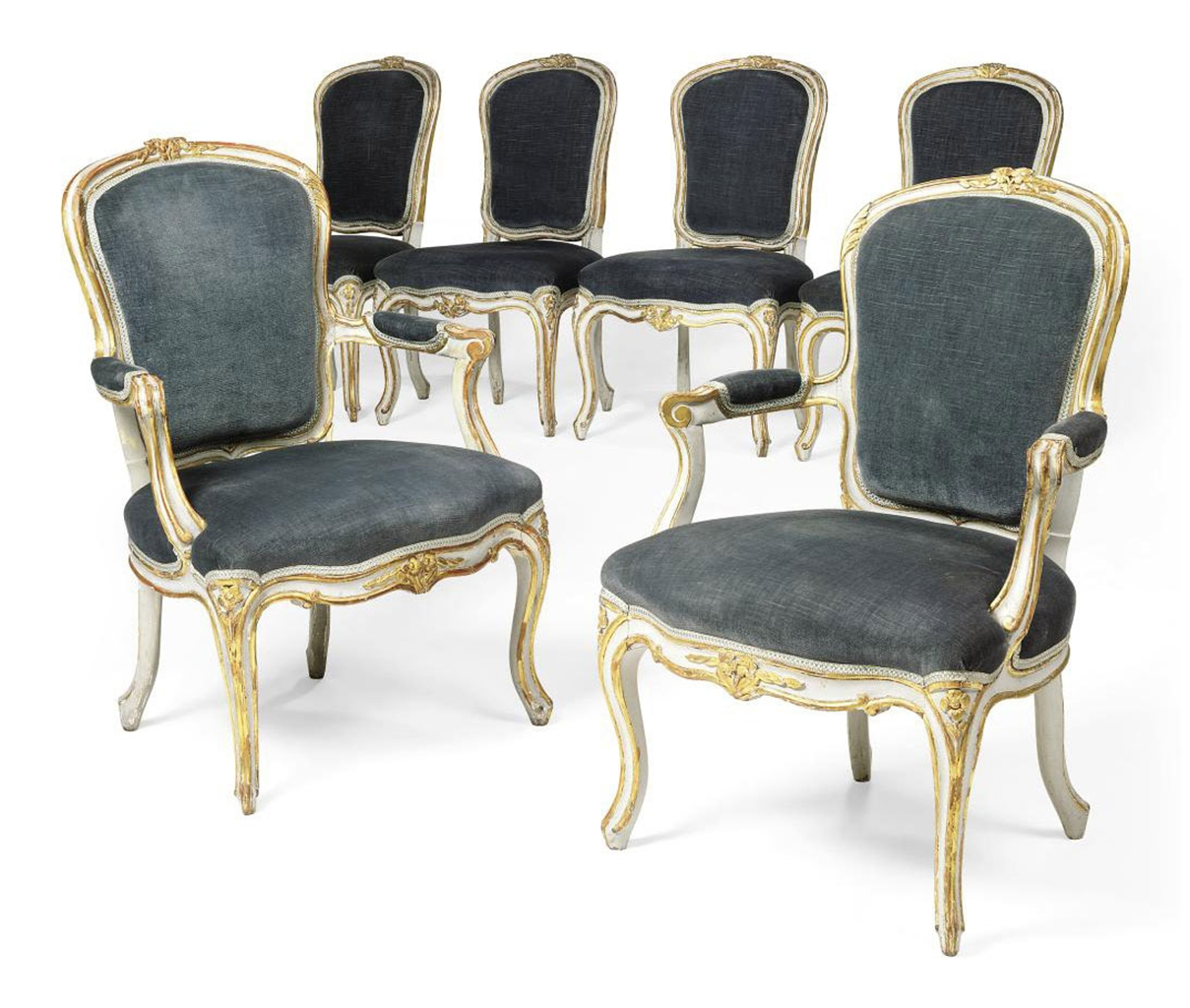 a set of six and parcel gilt painted salon chairs of louis xv style first half 20th century. Black Bedroom Furniture Sets. Home Design Ideas