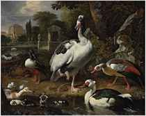 A grey and white crested goose, a shoveler, a Muscovy duck, goslings, ducklings and other fowl in a park, elegant buildings beyond