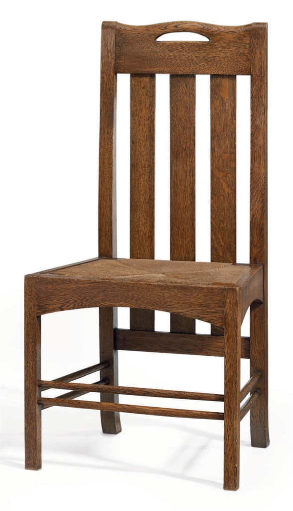 Charles Rennie Mackintosh 1868 1928 An Oak And Rush Dining Chair From The Argyle Street Tea