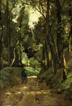 Man with wheelbarrow in the forest