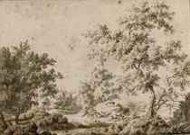 A wooded landscape with shepherds and their cattle