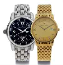 MAURICE LACROIX. A STAINLESS STEEL AUTOMATIC THREE TIME ZONE WRISTWATCH WITH DATE, ALARM, CENTER SECONDS AND BRACELET