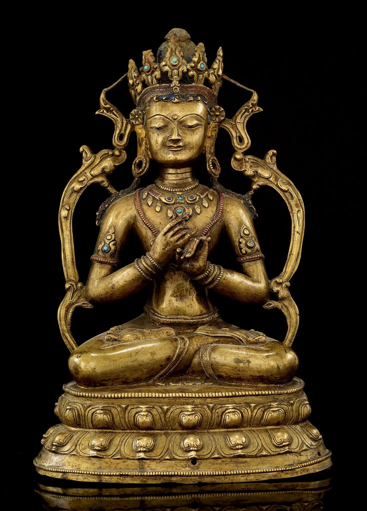 statue de vairocana en bronze tibet xiveme siecle. Black Bedroom Furniture Sets. Home Design Ideas