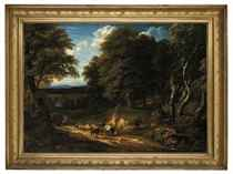 A wooded landscape with figures and cattle on a track