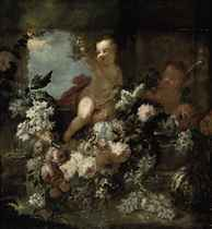 Putti disporting beside a fountain with flowers