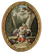 A wooded landscape with a mother and her sleeping child