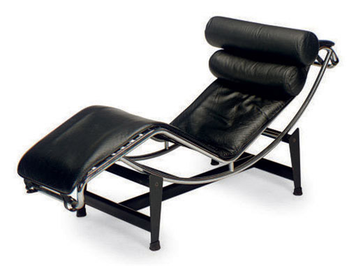 A steel chromed metal and black leather 39 lc 4 39 chaise for Black leather chaise longue
