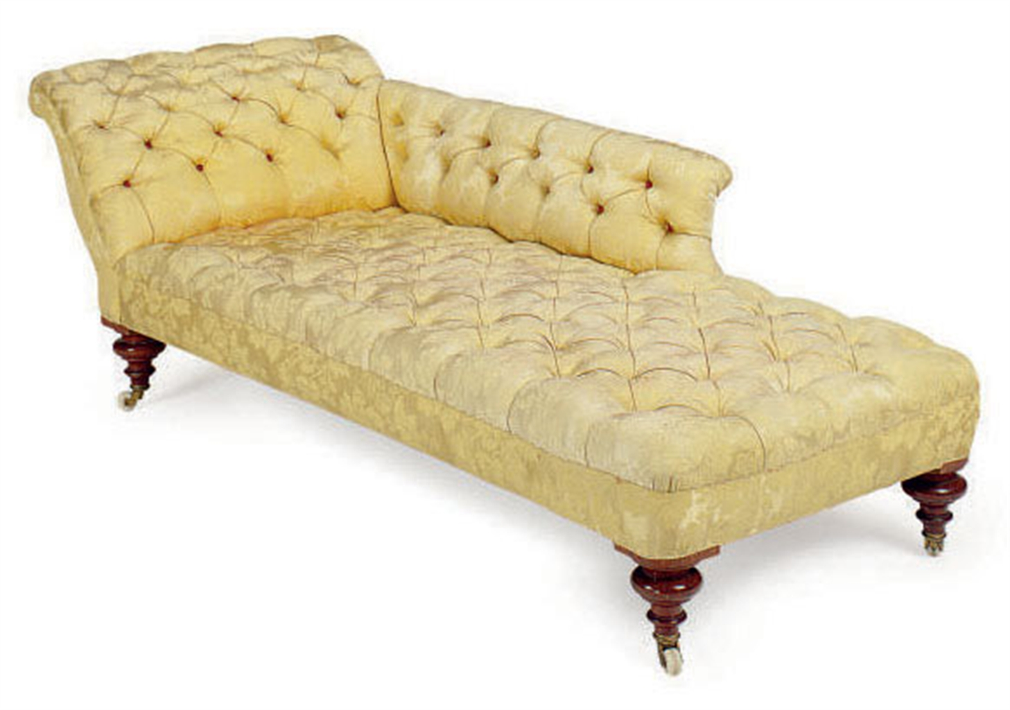 A victorian mahogany and button tufted yellow silk damask for Button tufted chaise lounge