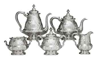 A MARTELE SILVER FIVE-PIECE TEA AND COFFEE SERVICE**
