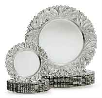 A SET OF ELEVEN SILVER DINNER PLATES AND TWELVE SILVER BREAD PLATES